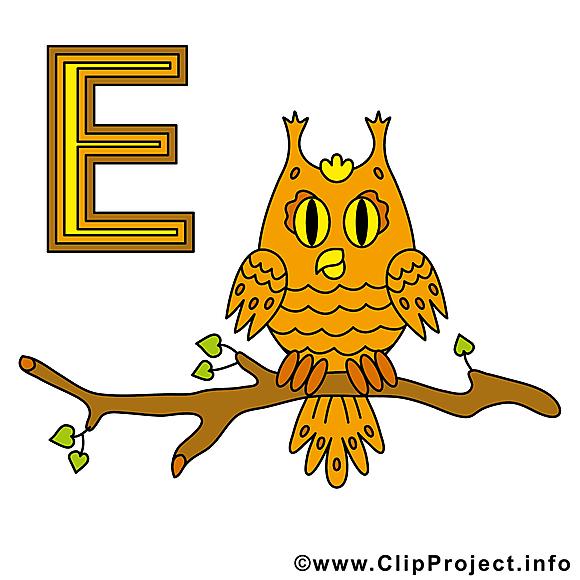 E eule image – Alphabet allemand clipart
