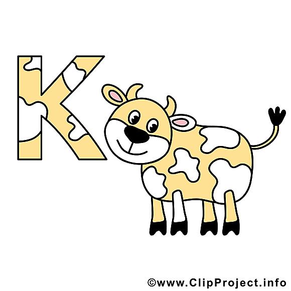 K kuh clipart gratuit – Alphabet allemand images