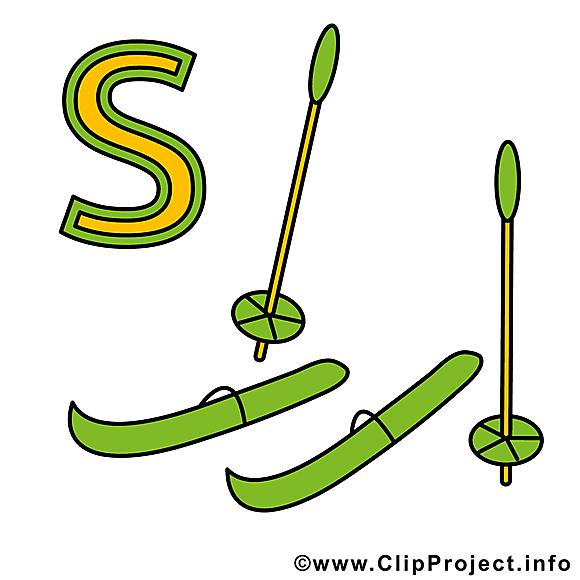 S ski images – Alphabet allemand dessins gratuits