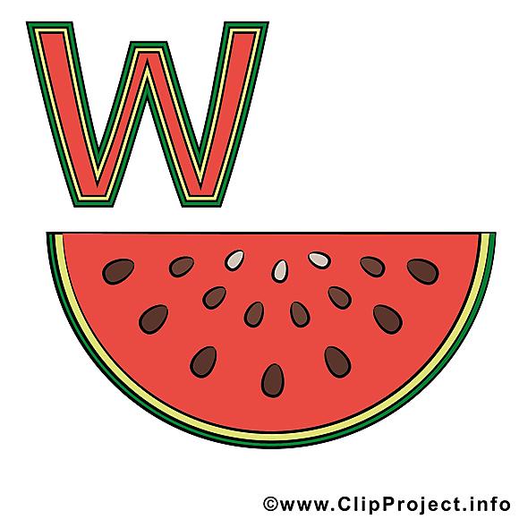 W Wassermelone clip arts – Alphabet allemand illustrations