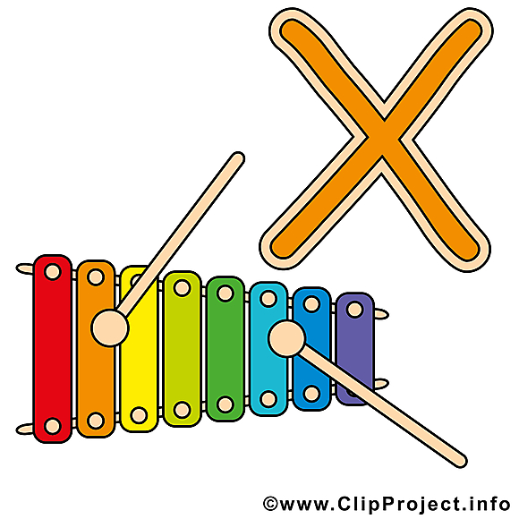 X xylophone images – Alphabet english clip art gratuit