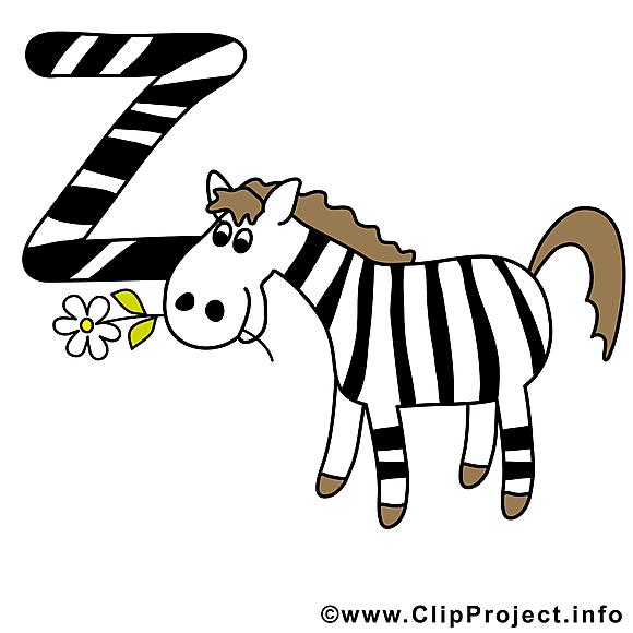 Z zebra dessin – Alphabet english à télécharger