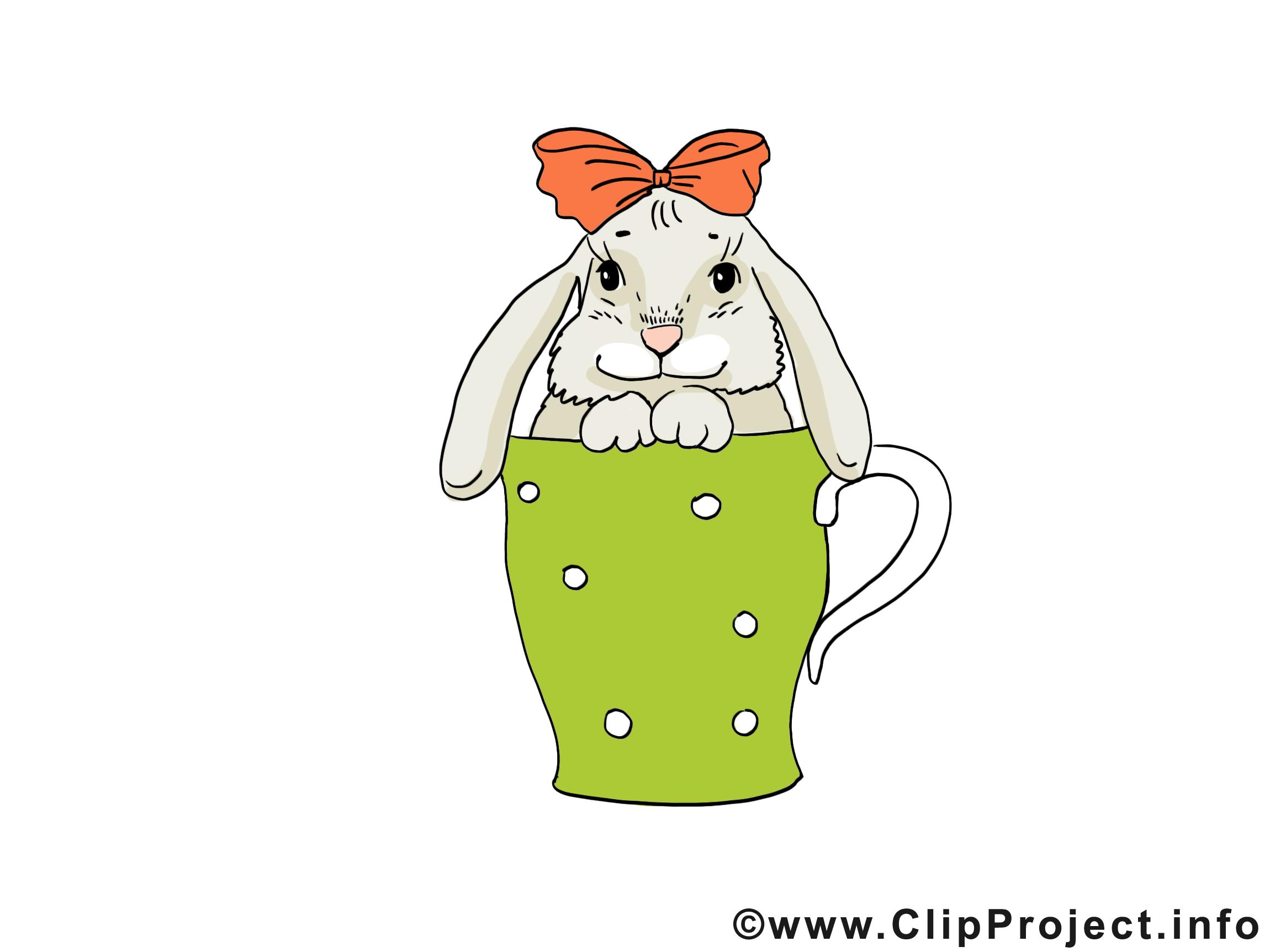 Tasse lapin dessin gratuit - Pâques image