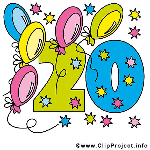 20 ans image gratuite anniversaire illustration - Clipart anniversaire gratuit ...