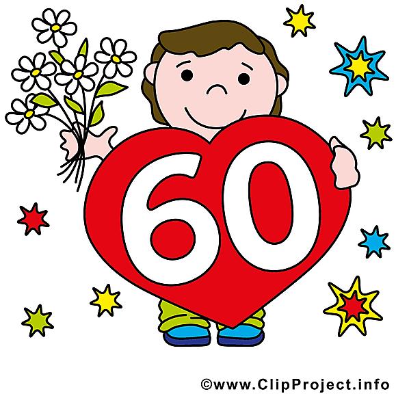 60 ans illustration gratuite anniversaire clipart - Dessin 60 ans anniversaire ...