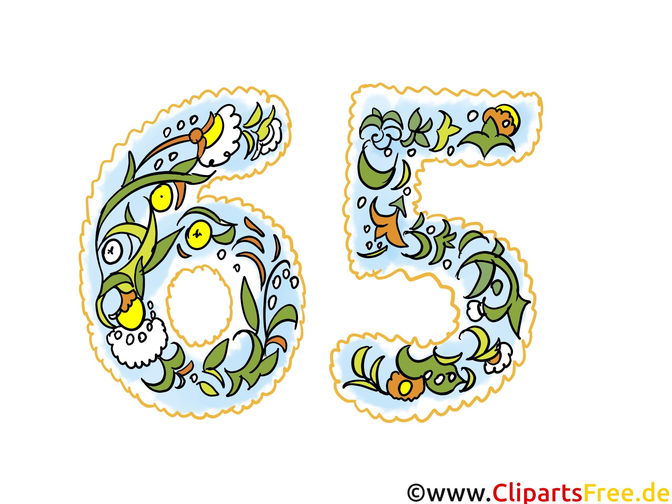65 ans clip arts gratuits – Anniversaire illustrations