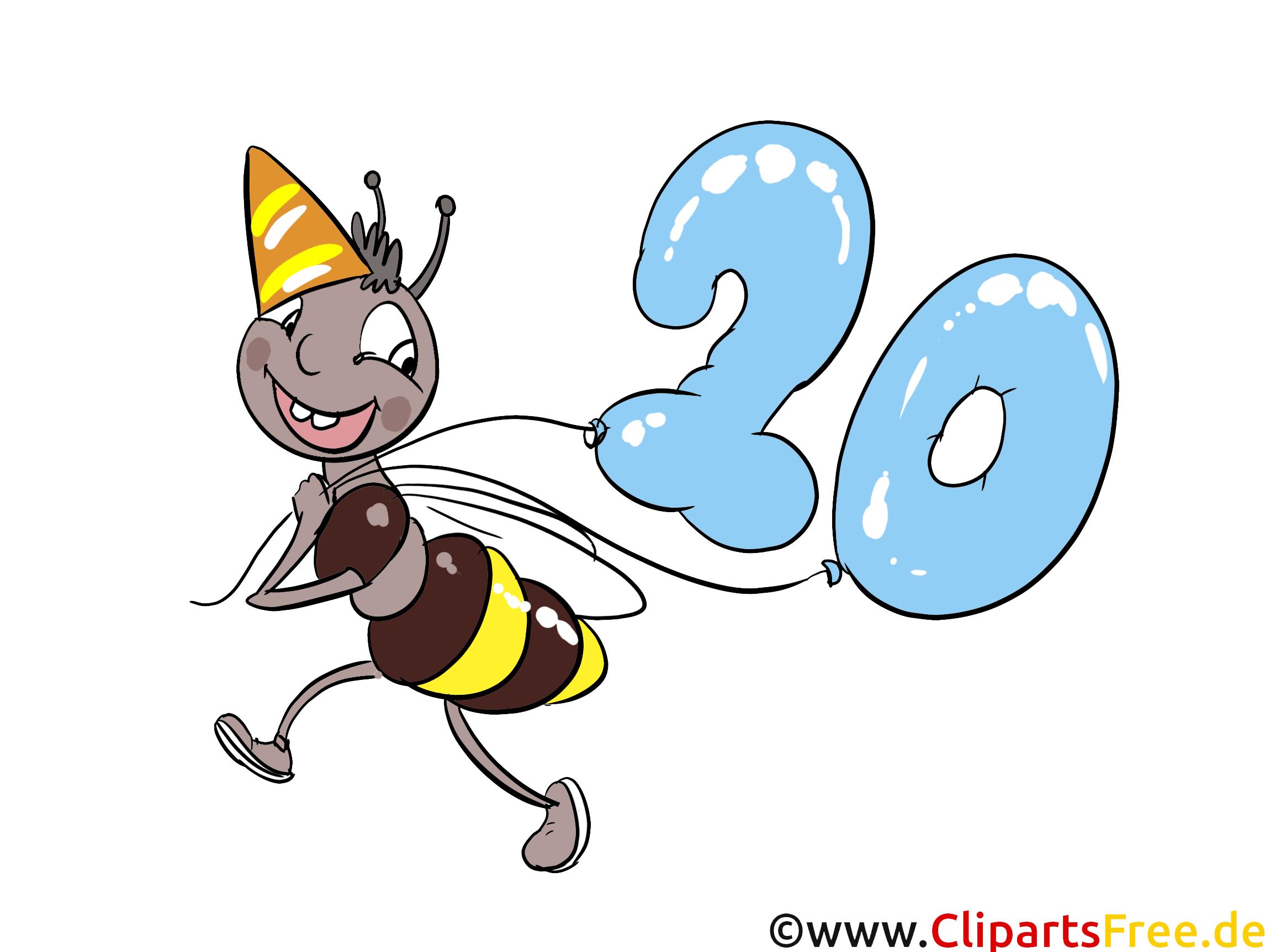 Abeille 20 ans clipart gratuit anniversaire images anniversaire dessin picture image - Dessin anniversaire 20 ans ...