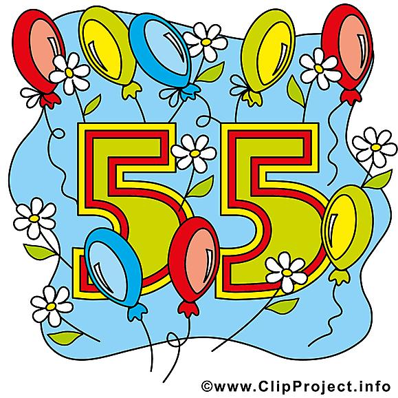 Ballons 55 ans clip art gratuit – Anniversaire dessin