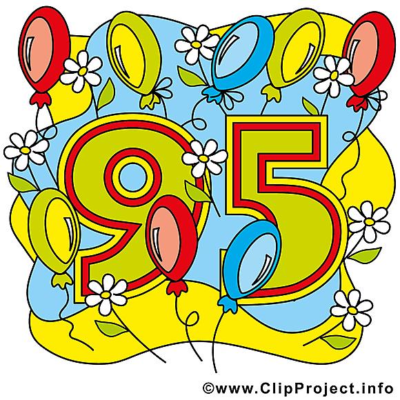 Ballons 95 ans image gratuite – Anniversaire cliparts