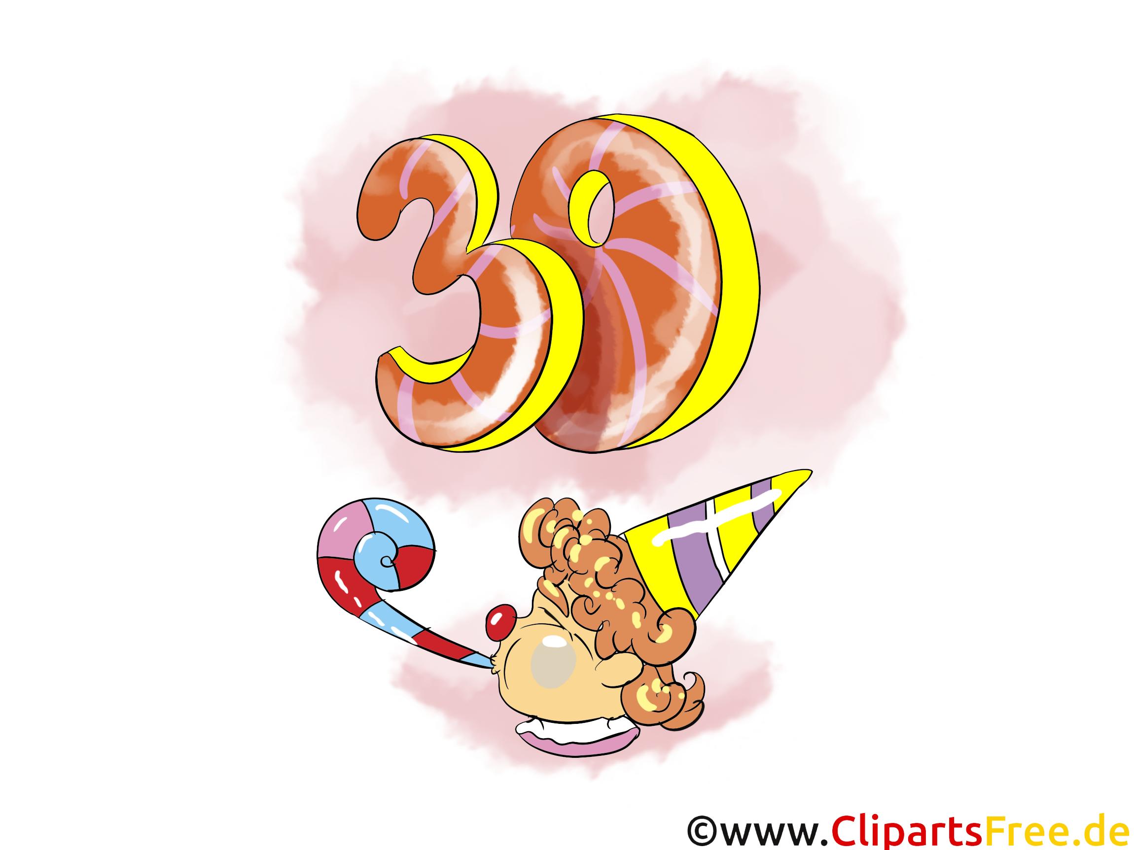 Fête 30 ans clip arts gratuits – Anniversaire illustrations