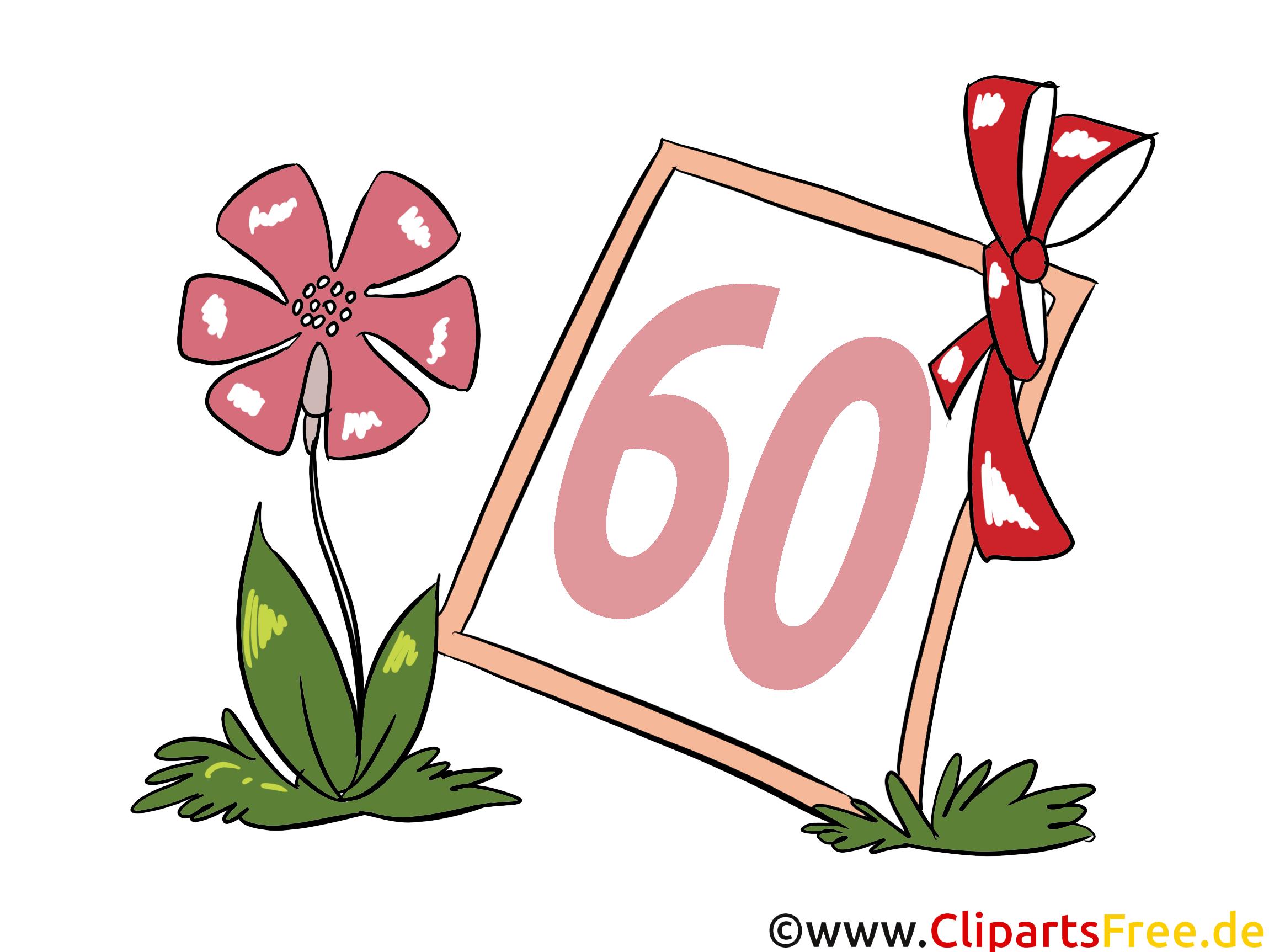 Fleur 60 ans image gratuite – Anniversaire illustration