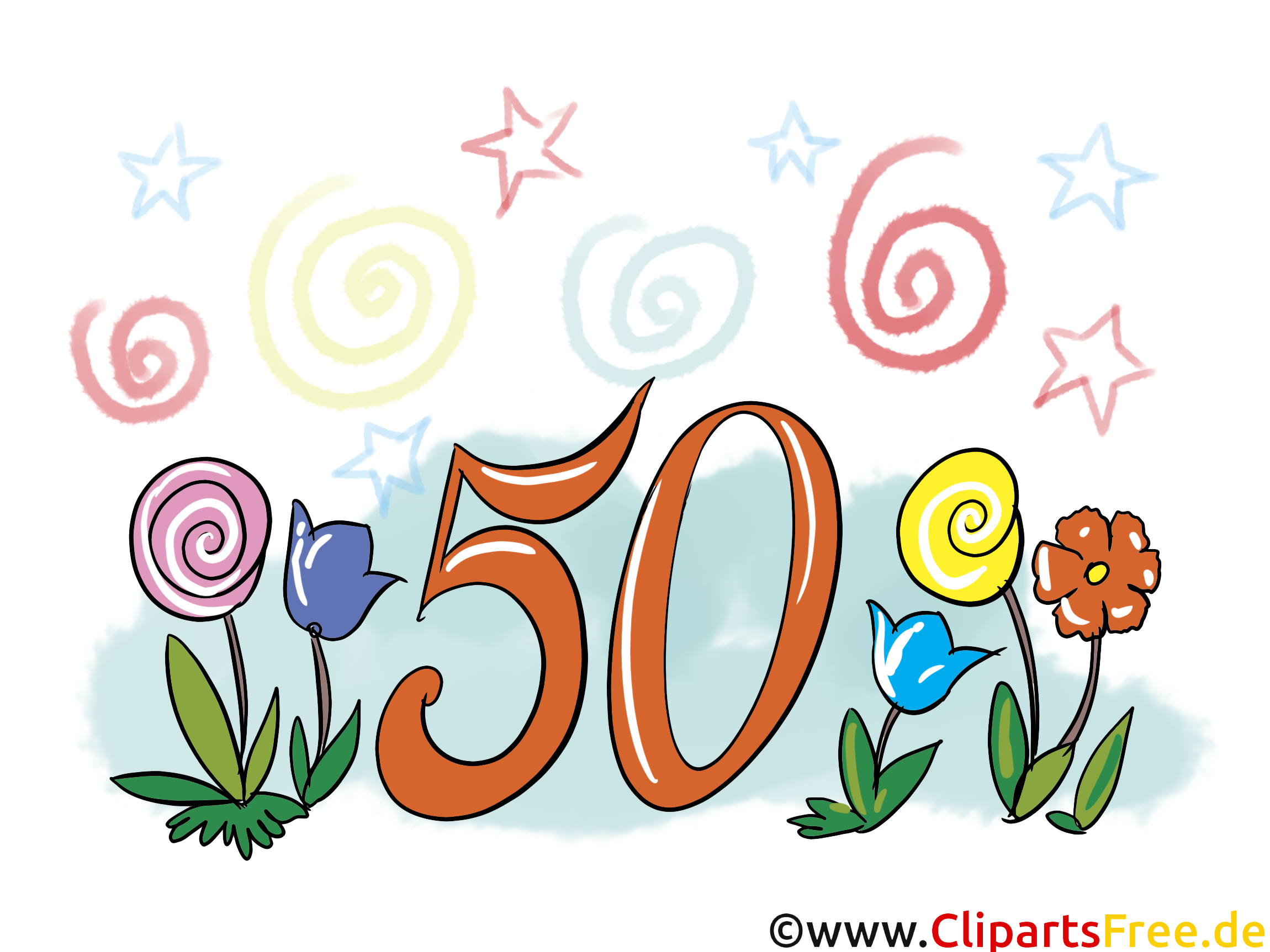 Fleurs 50 ans clip art gratuit – Anniversaire images