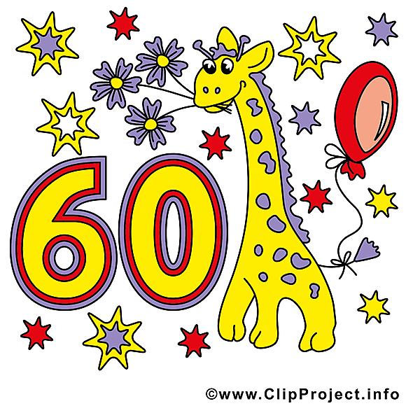 Girafe 60 ans images anniversaire clip art gratuit - Dessin 60 ans anniversaire ...