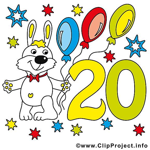 Lapin 20 ans dessin – Anniversaire clip arts gratuits