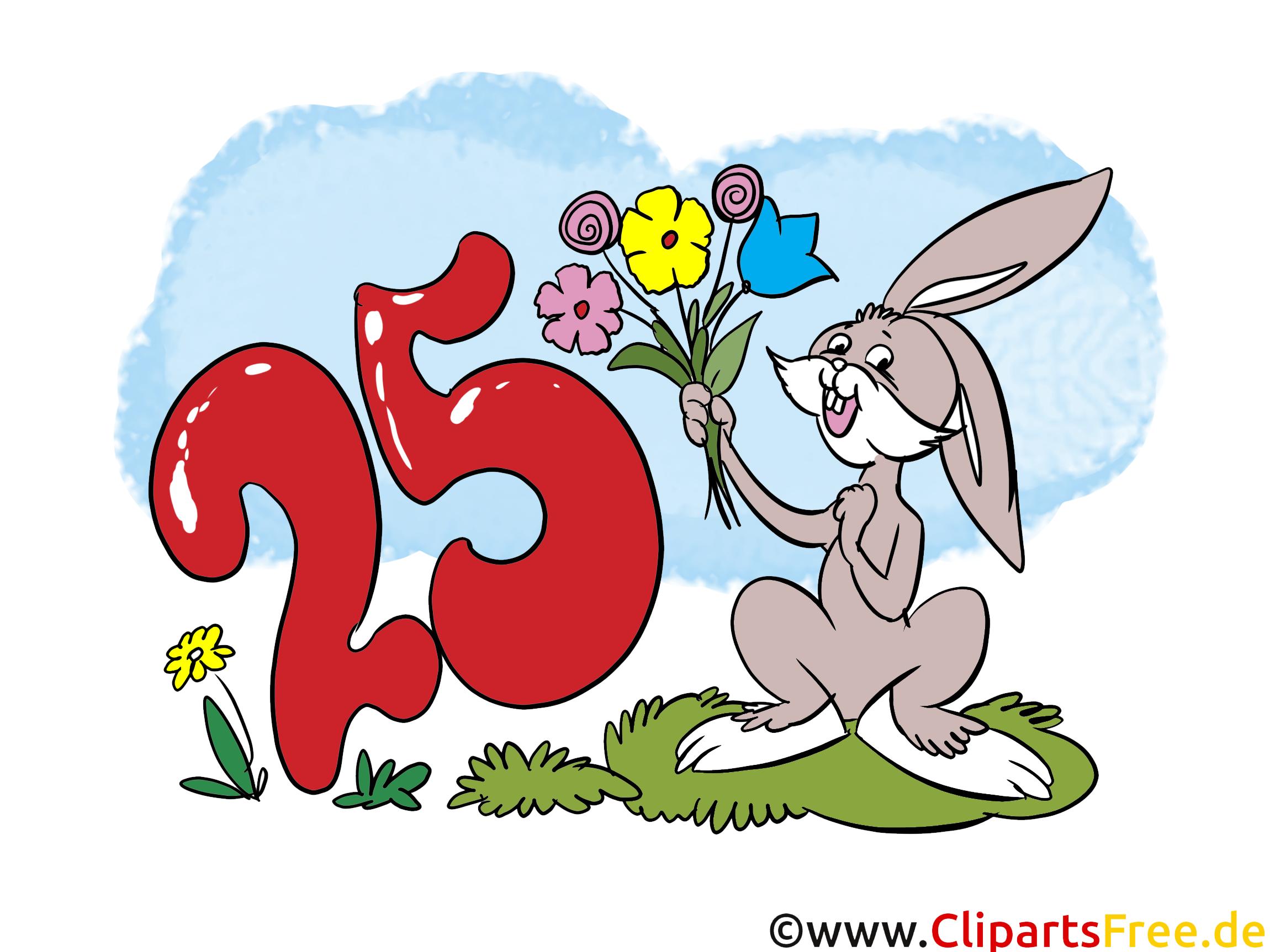 Lièvre 25 ans image gratuite – Anniversaire clipart