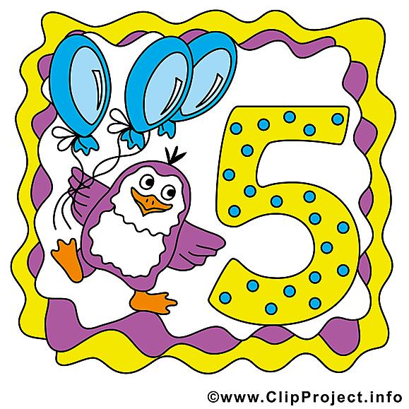 Pingouin 5 ans image gratuite – Anniversaire clipart