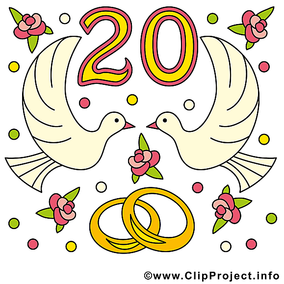 20 ans colombes anniversaire mariage illustration
