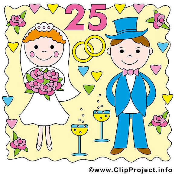 25 ans anniversaire mariage image à télécharger gratuite