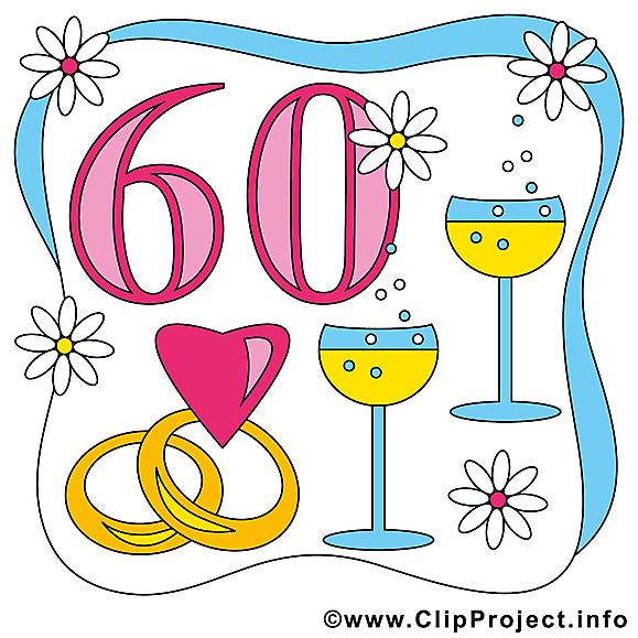 60 ans anniversaire mariage clip arts gratuits