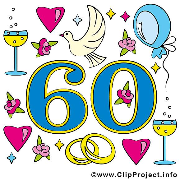 60 ans anniversaire mariage cliparts
