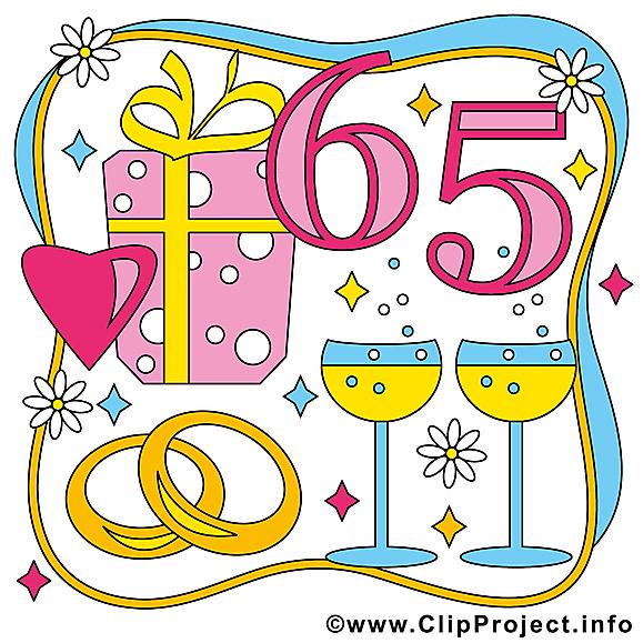 65 ans anniversaire mariage clipart