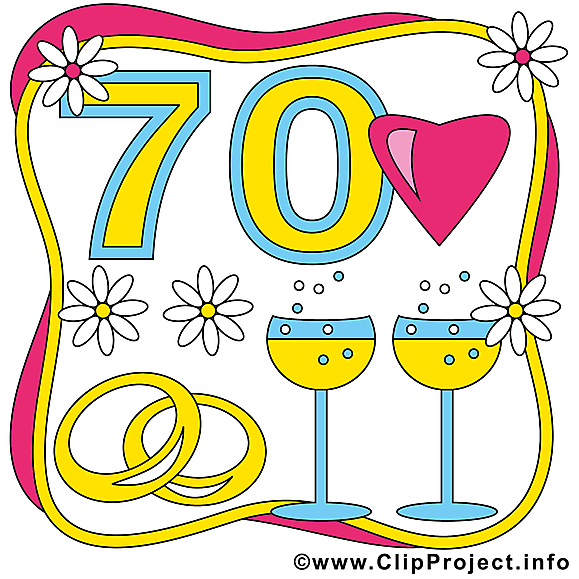 70 ans champagne anniversaire mariage clipart