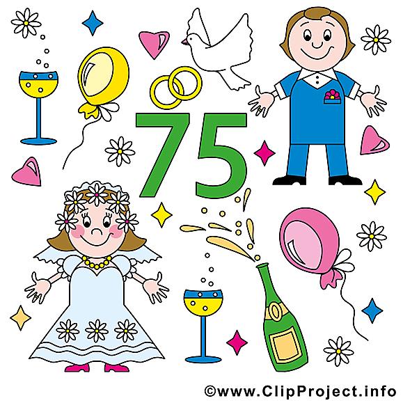 75 ans amoureux anniversaire mariage cliparts