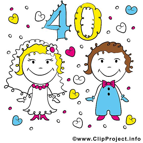 Anniversaire de mariage 40 ans illustration images