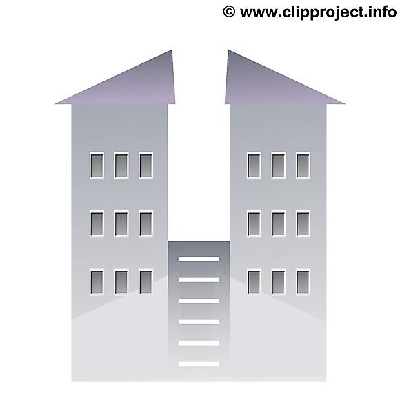 Coloriage immeuble image – Biens immobiliers clipart