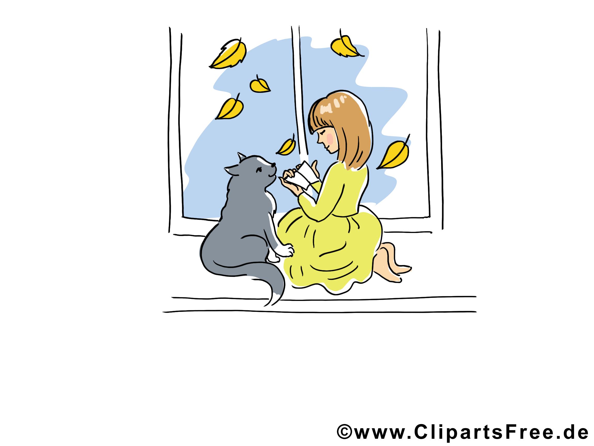 Fenêtre chat clip art gratuit – Automne dessin