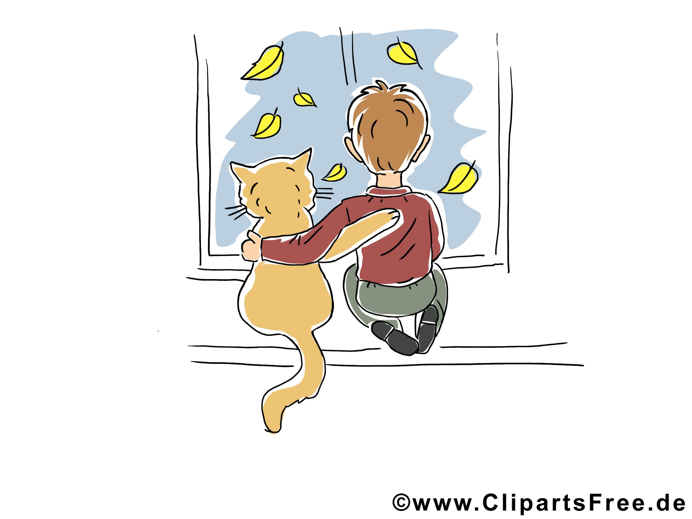 Fenêtre chat clip arts gratuits – Automne illustrations