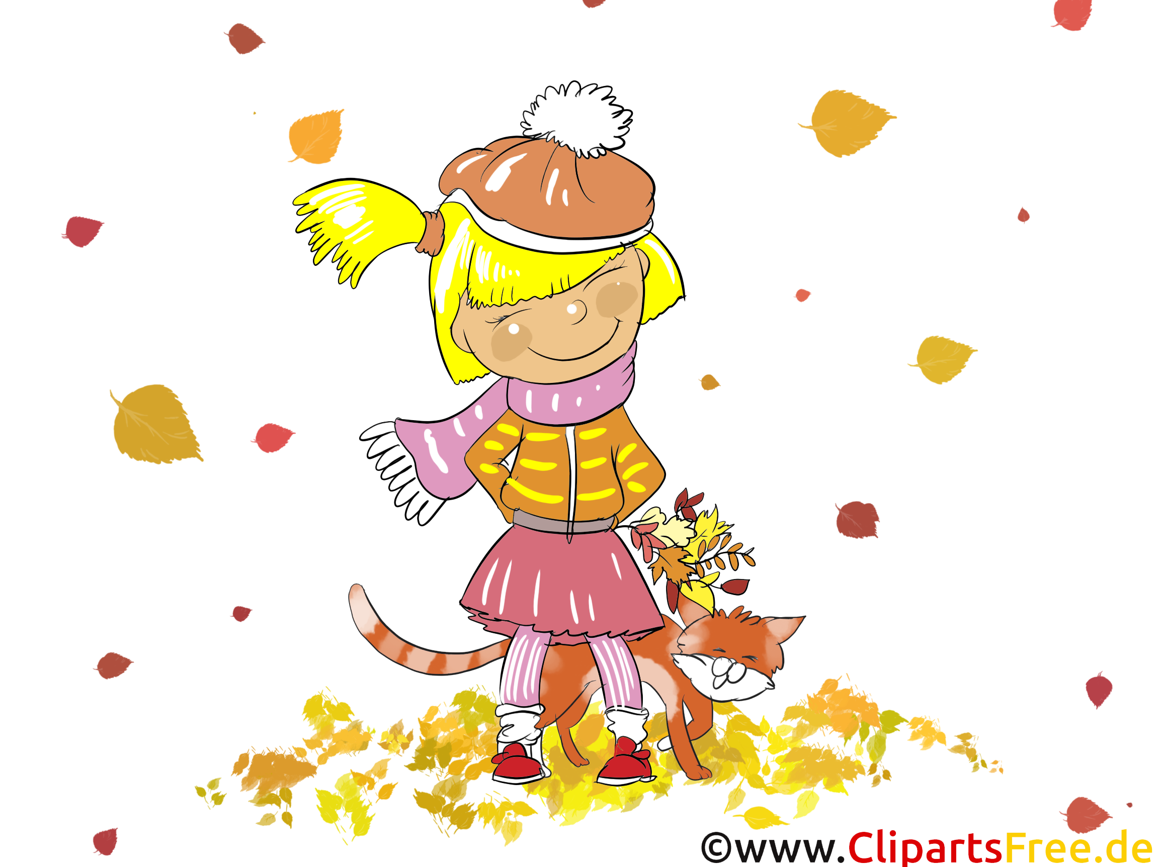 Fille chat image gratuite – Automne cliparts