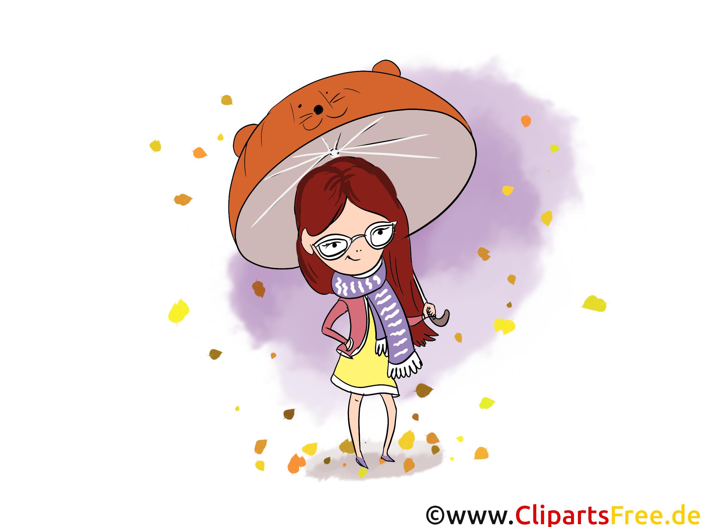 Parapluie fille clipart – Automne dessins gratuits