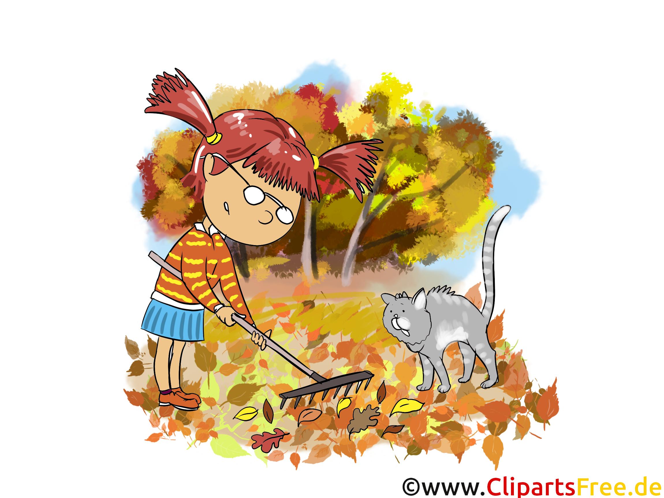 Râteau feuilles illustration gratuite – Automne clipart