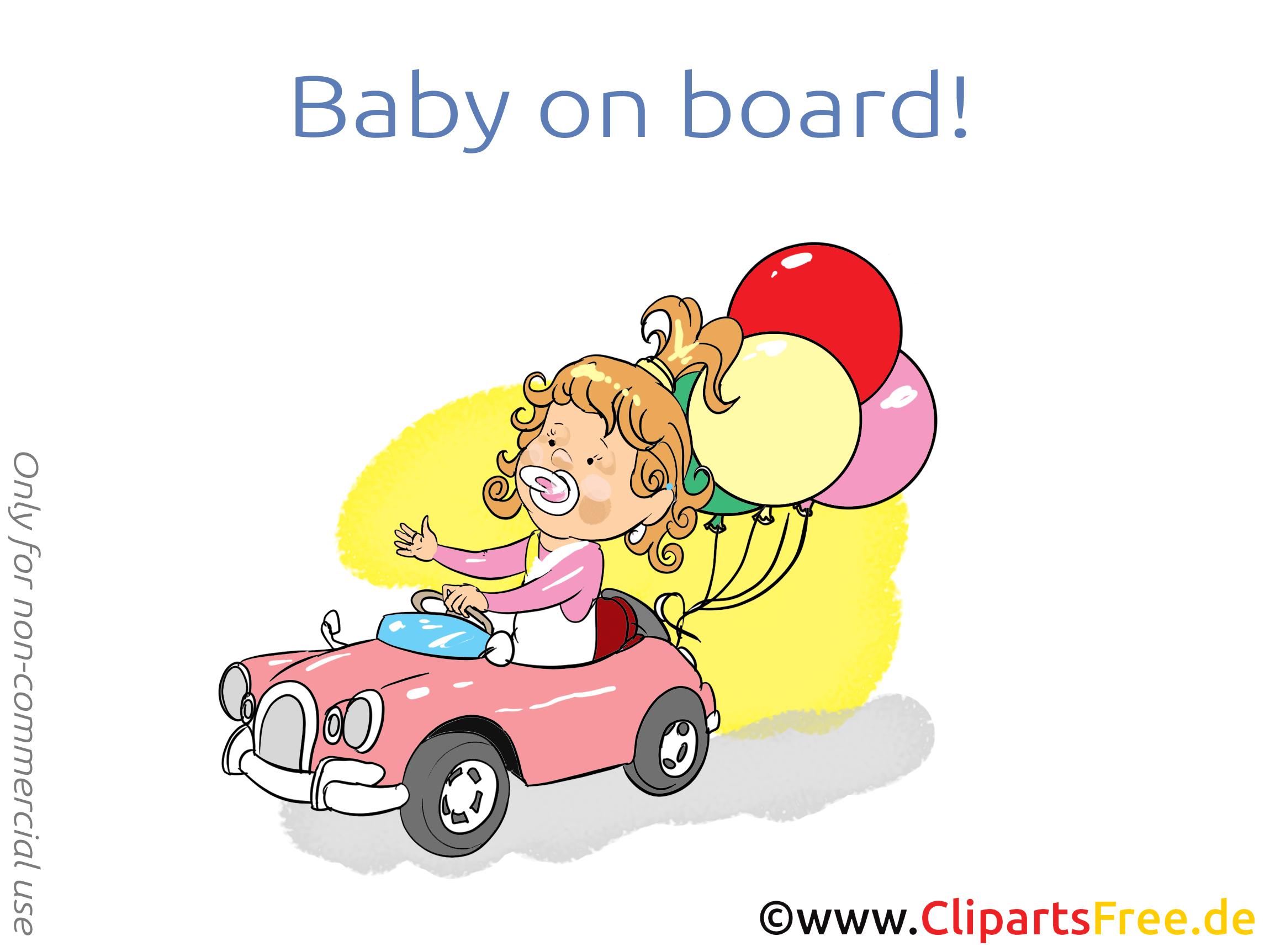 Ballons voiture bébé à bord illustration gratuite