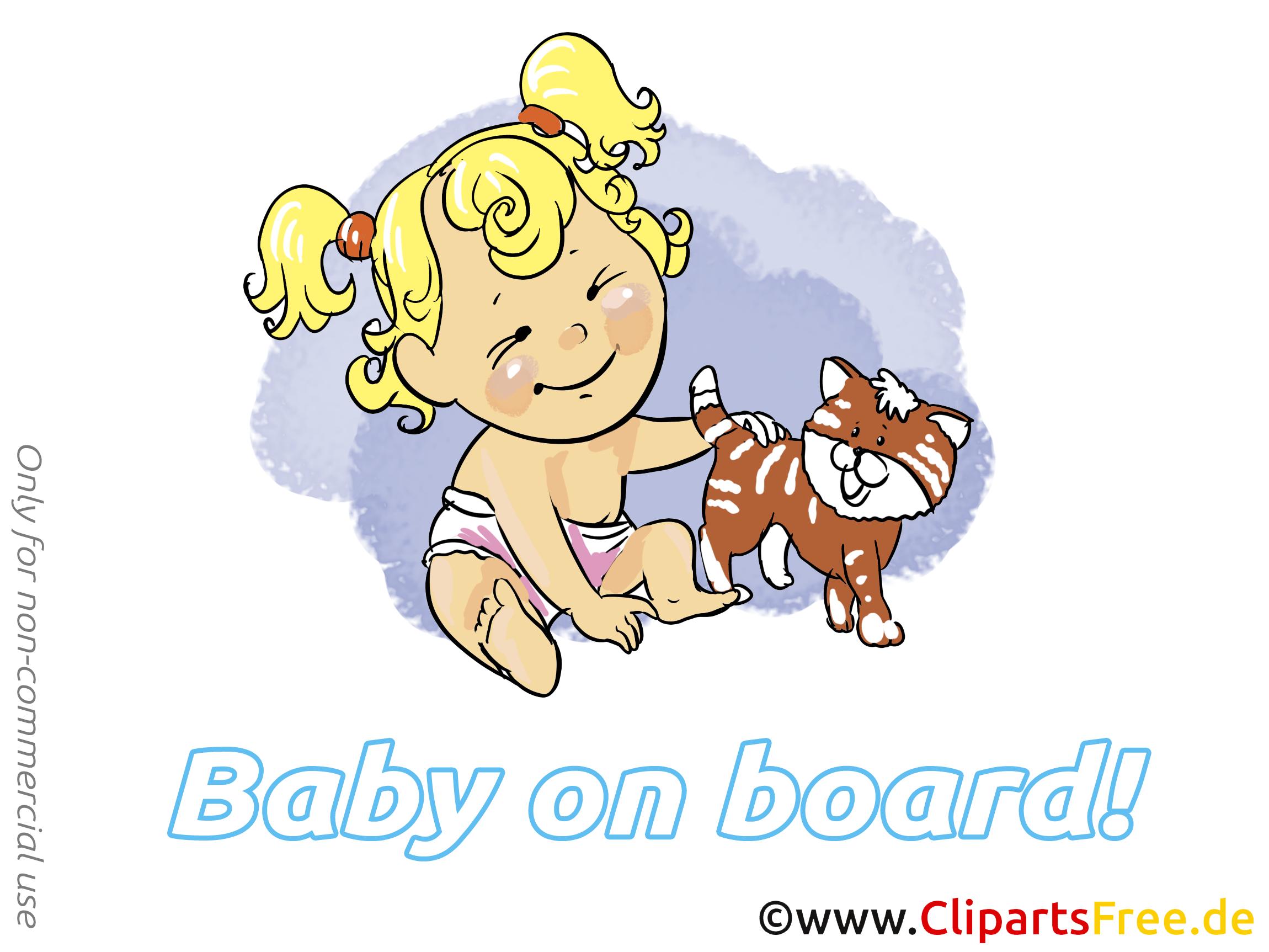 Chat dessin – Bébé à bord à télécharger