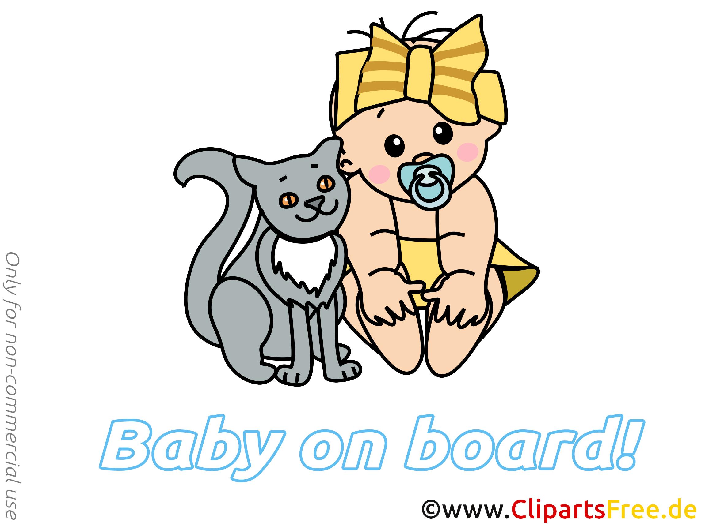 Chat dessin à télécharger – Bébé à bord images