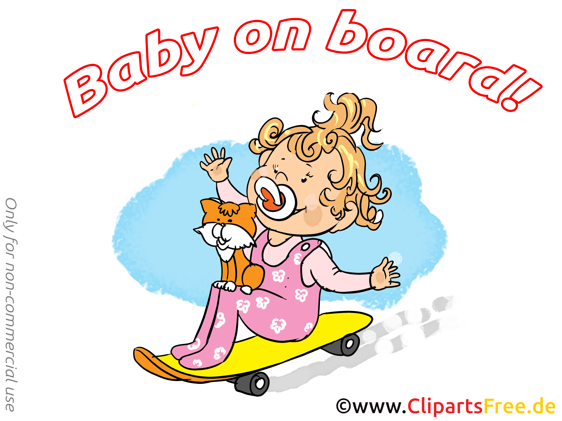 Chat plache à roulettes image – Bébé à bord illustration