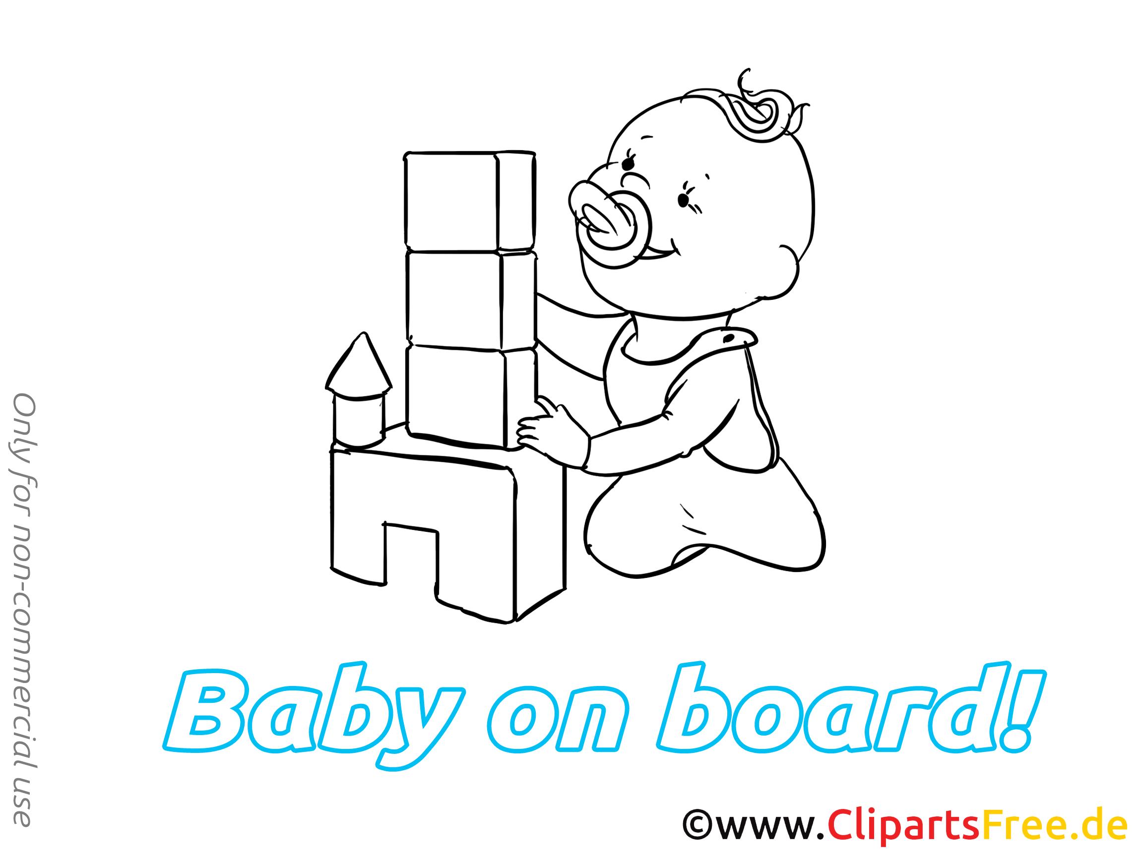 Château dessin à imprimer – Bébé à bord clip arts gratuits