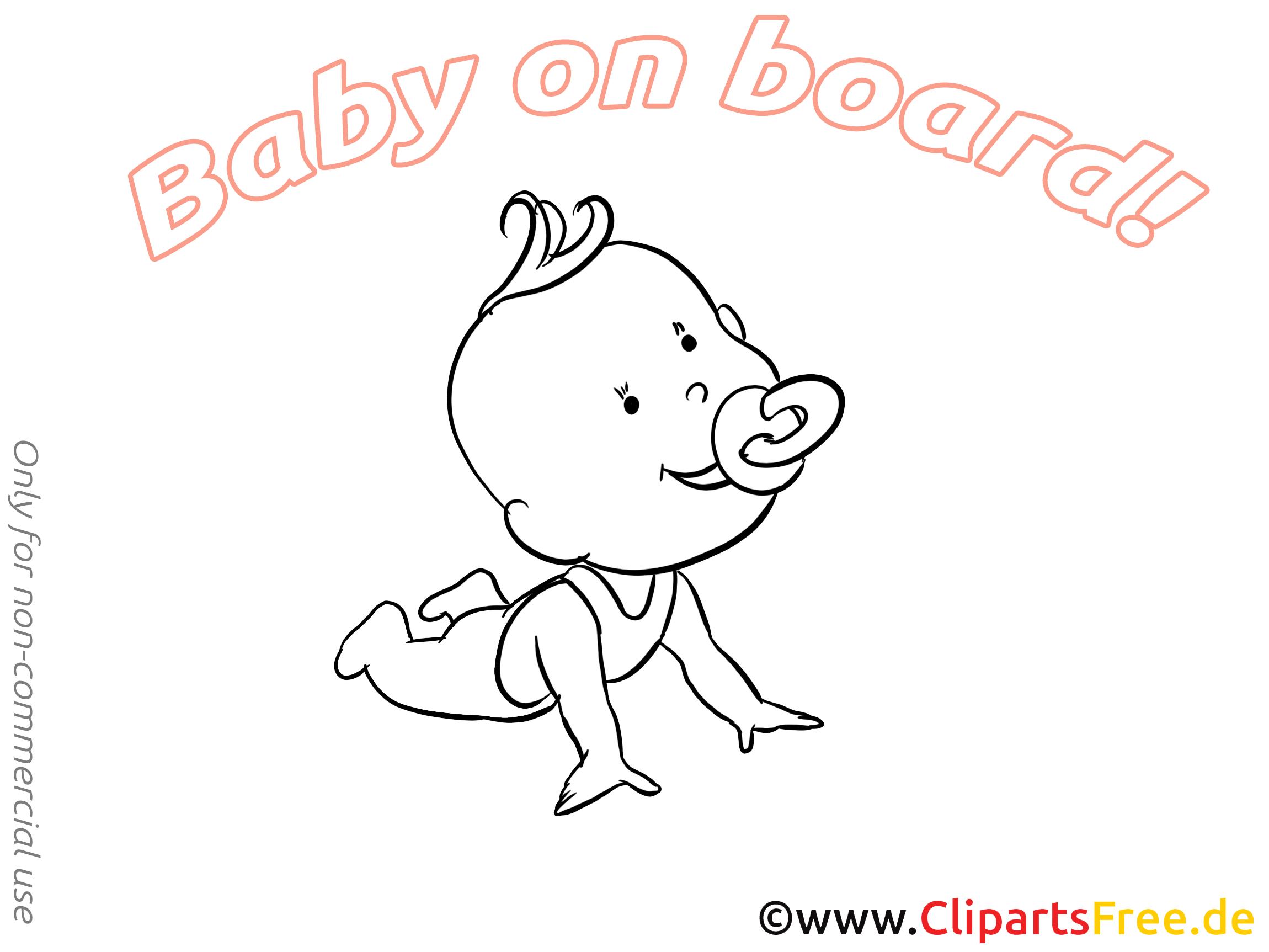 Clip art gratuit bébé à bord dessin