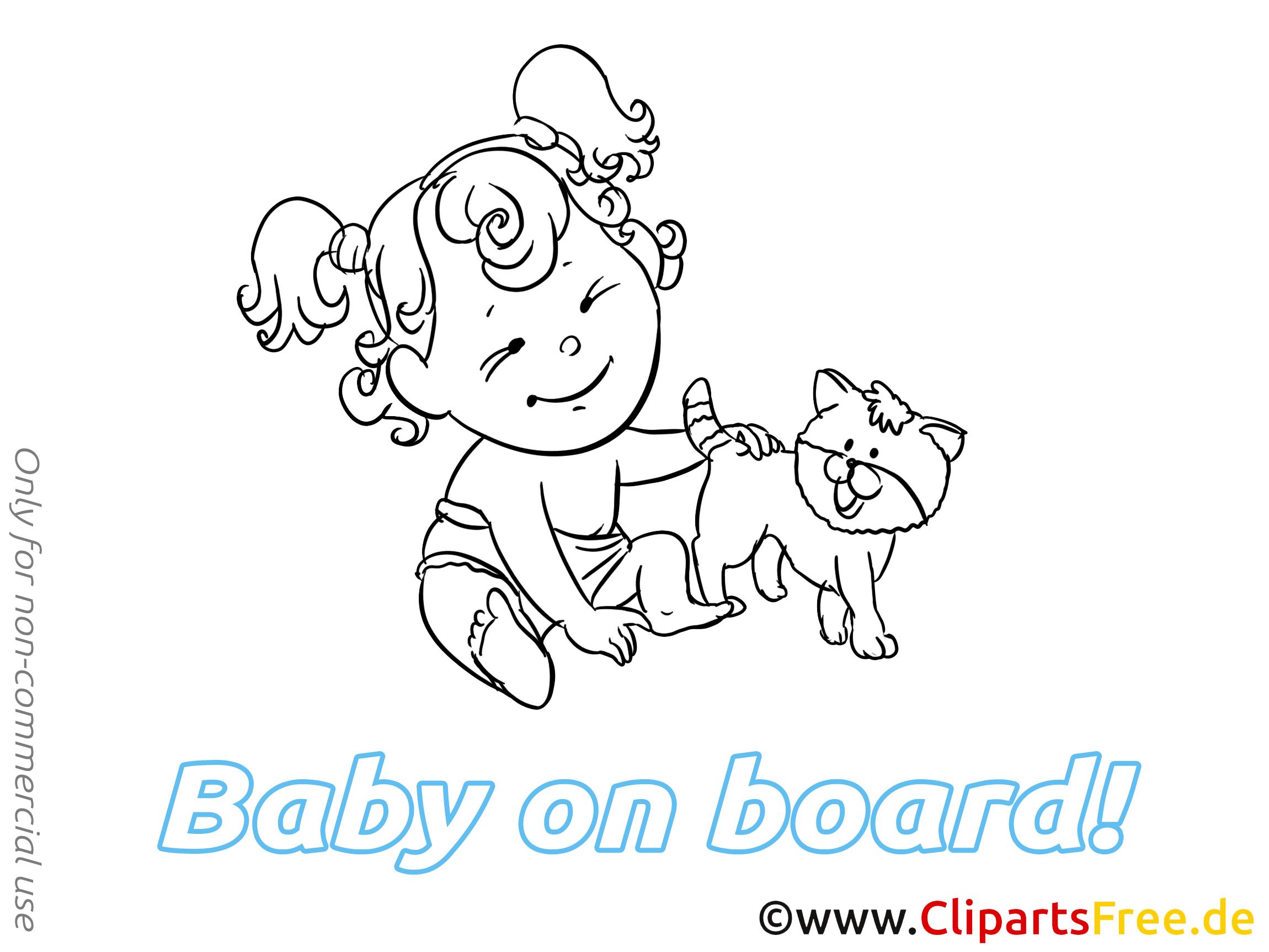 Coloriage images chat – Bébé à bord clipart