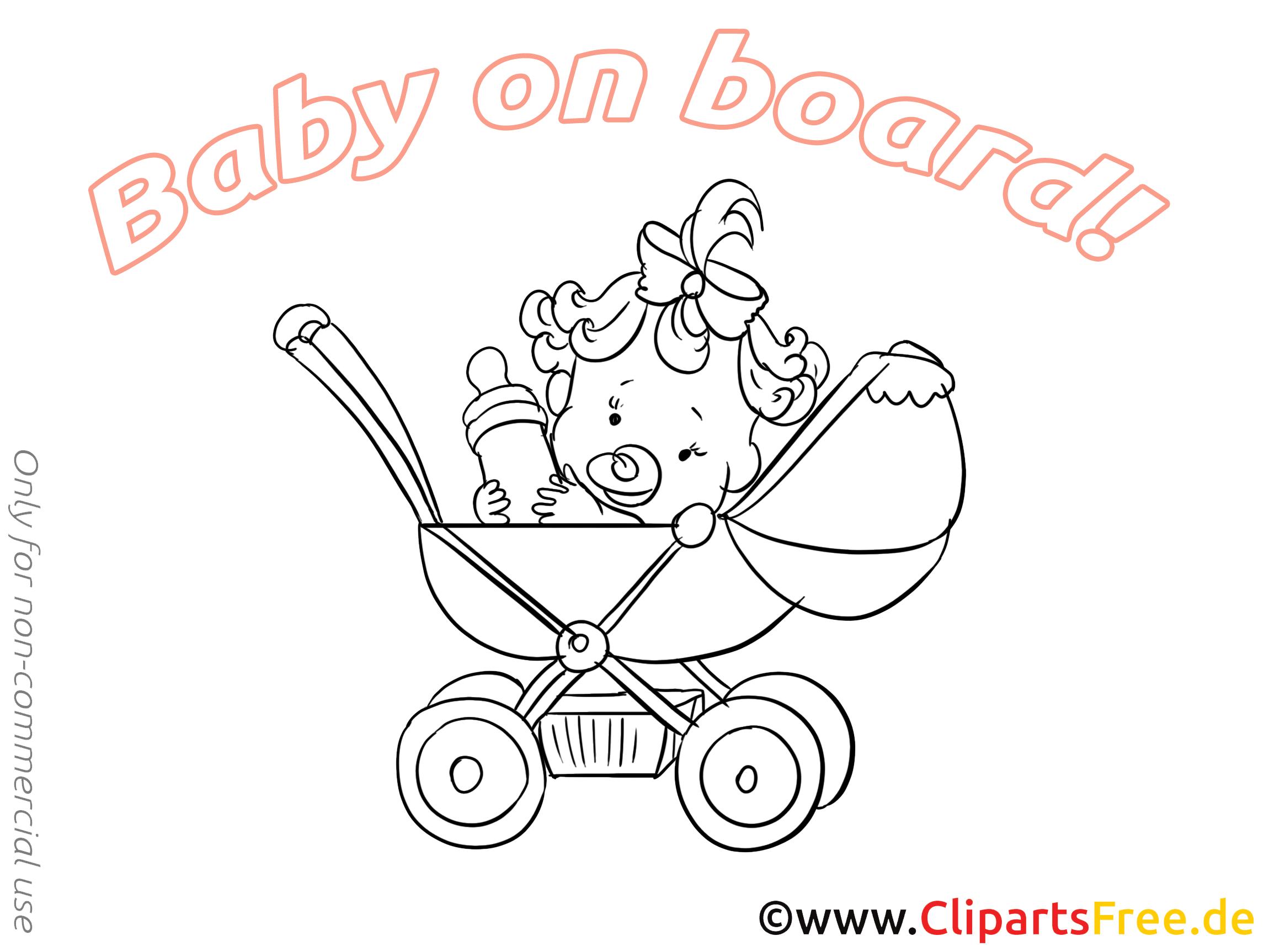 Coloriage poussette – Bébé à bord images cliparts