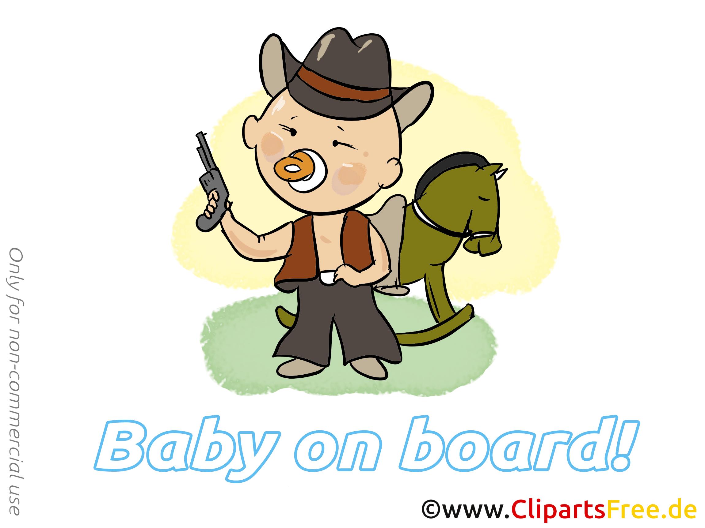Cowboy dessin – Bébé à bord cliparts à télécharger