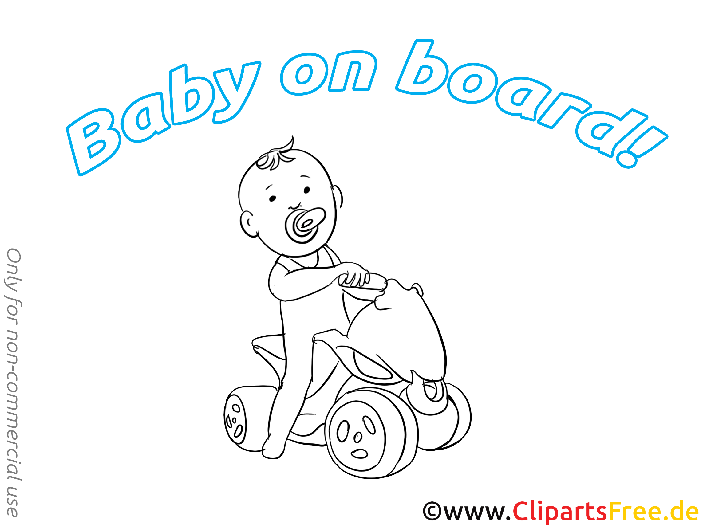 Dessin à colorier quadricycle – Bébé à bord clip arts gratuits