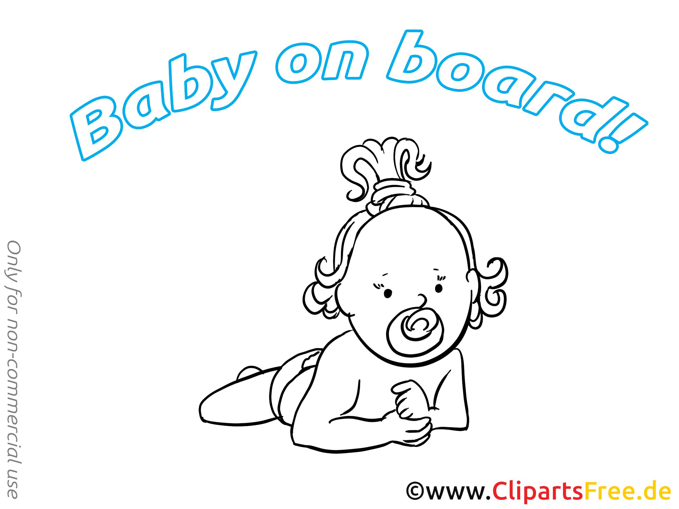 Dessin gratuit à imprimer bébé à bord image