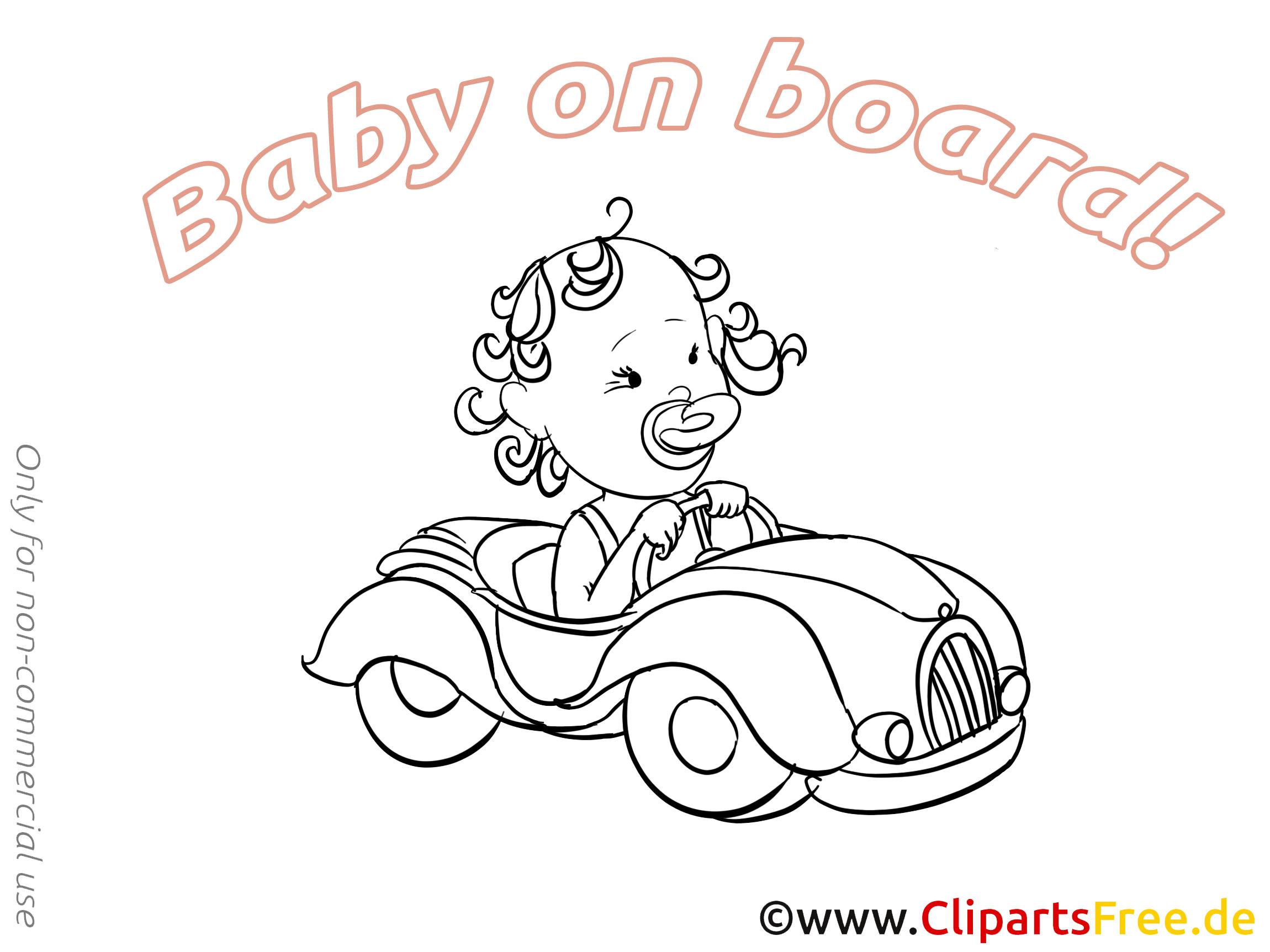 Dessin voiture à imprimer – Bébé à bord à télécharger