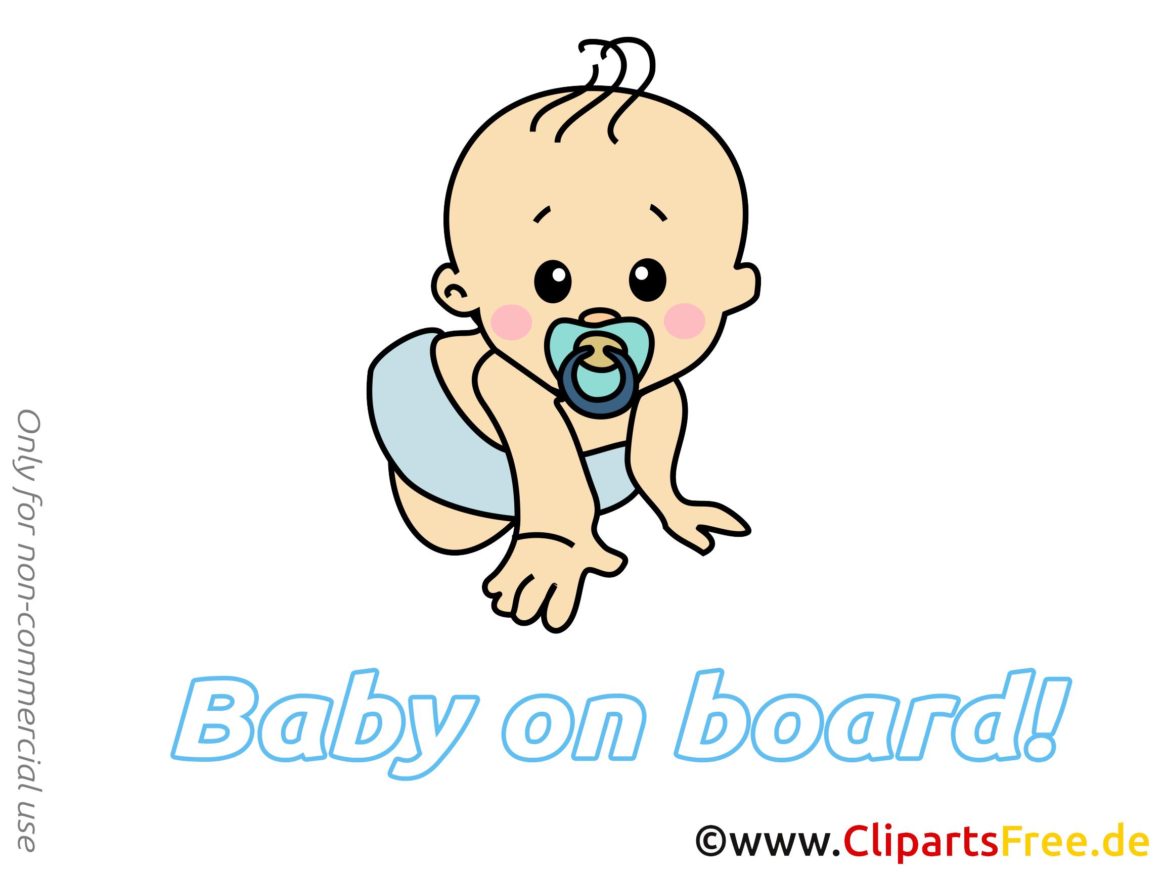 Image gratuite à imprimer – Bébé à bord clipart