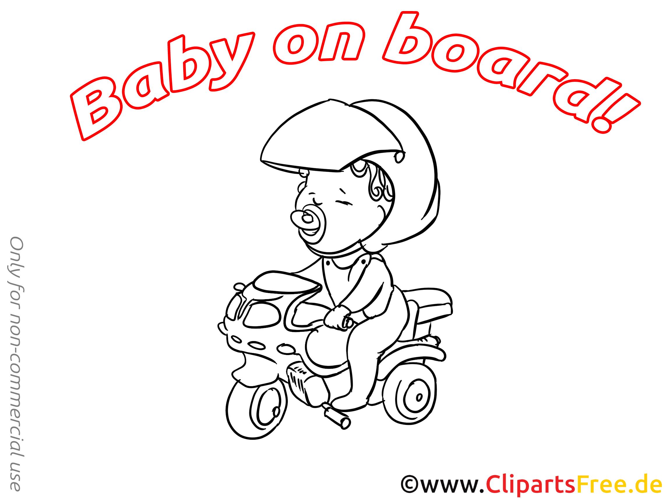 Motocyclette clip arts à colorier – Bébé à bord illustrations