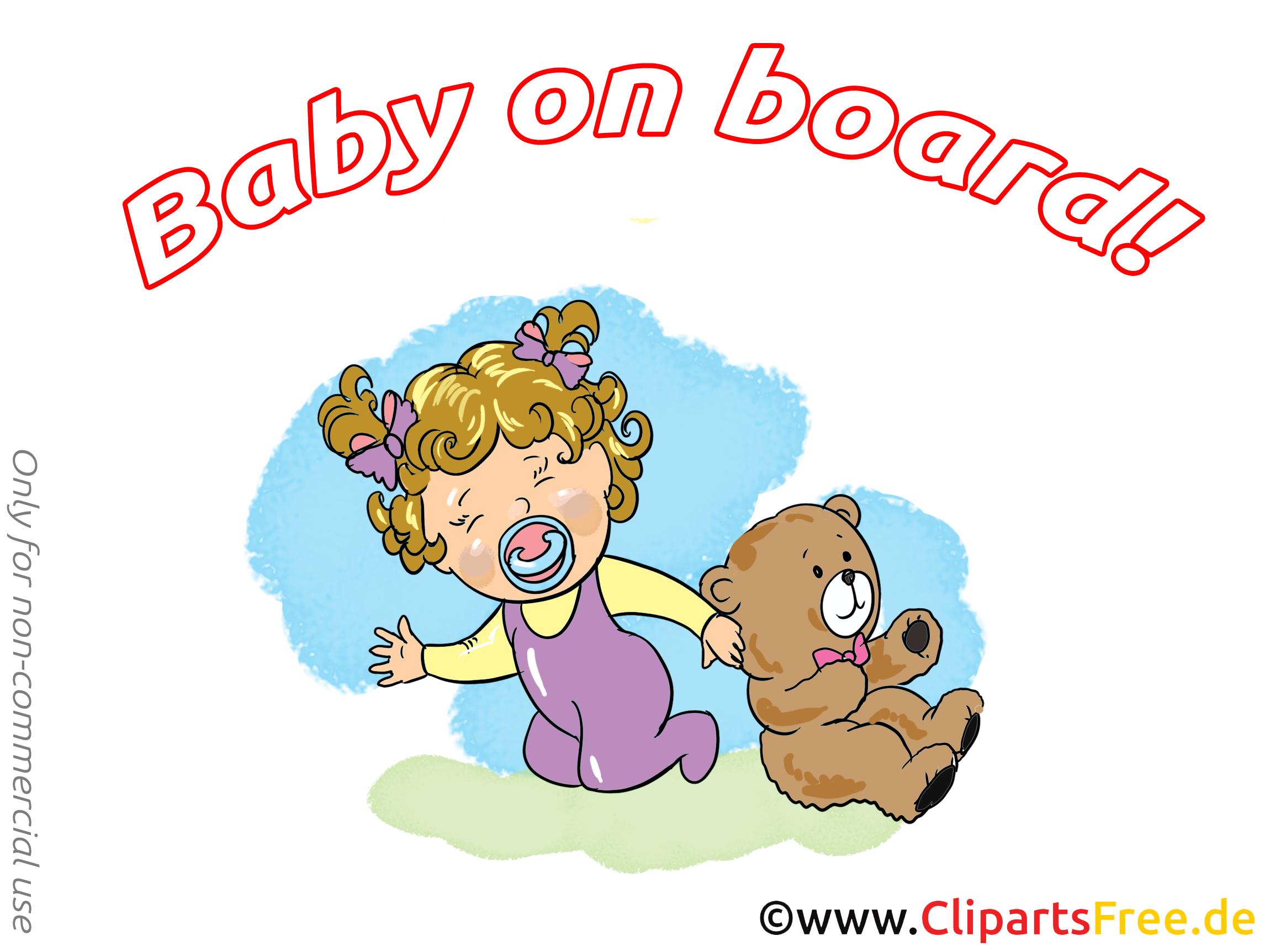 Ours en peluche dessins gratuits – Bébé à bord clipart