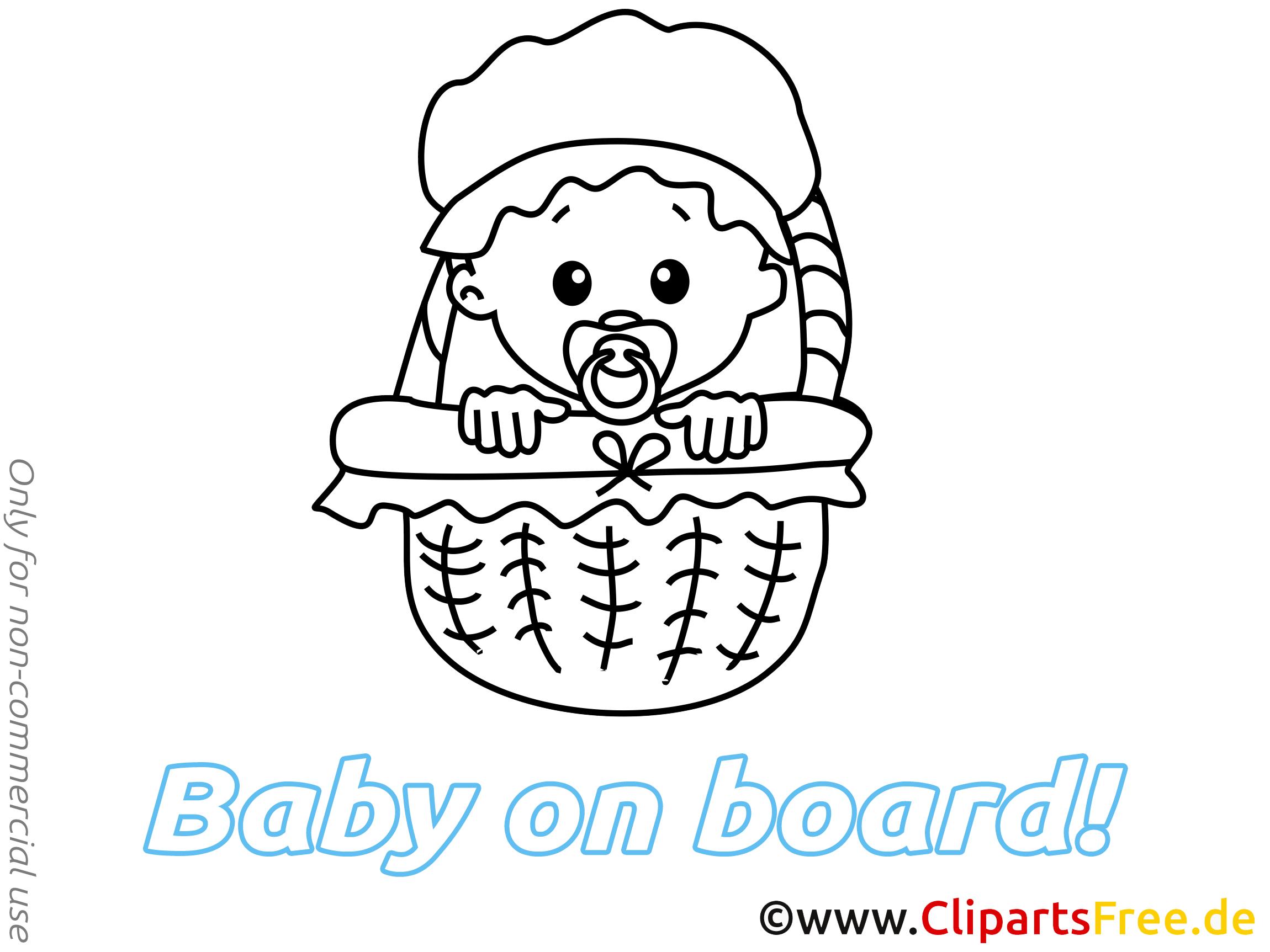 Panier dessin à imprimer – Bébé à bord à télécharger